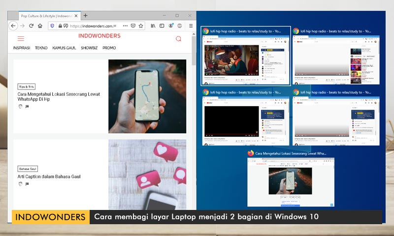 cara Membagi Layar Laptop Mengunakan Shortcut Keyboard Windows 10 05